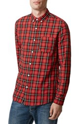 Men's Topman Slim Fit Tartan Plaid Shirt