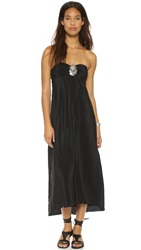 Amanda Uprichard Tie Back Silk Maxi Dress Black