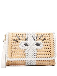 Anya Hindmarch The Neeson Leather And Straw Clutch Beige White