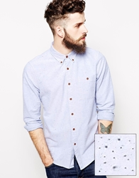 Asos Oxford Shirt In Blue With Long Sleeves And Neps