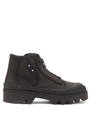 Proenza Schouler Zip Up Rubber And Canvas Boots Black