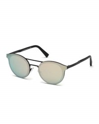 Ermenegildo Zegna Round Double Bridge Flash Sunglasses Matte Black Rose Gold