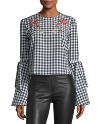 Haute Rogue Embroidered Gingham Blouse Black White