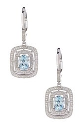 Savvy Cie Aquamarine And White Diamond Dangle Earrings Blue