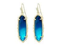 Kendra Scott Fran Earrings Gold Teal Agate Earring Blue