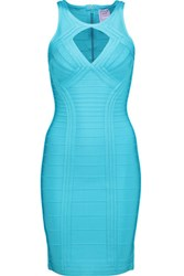 Herve Leger Cutout Bandage Mini Dress Turquoise