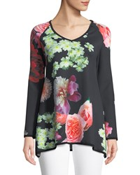 Melissa Masse Long Sleeve Floral Easy Top Pink