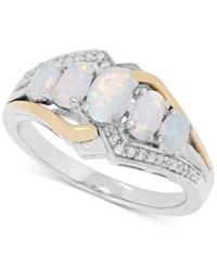 Macy's Opal 7 8 Ct. T.W. And Diamond Accent Ring In Sterling Silver And 14K Gold Two Tone