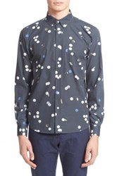 Saturdays Surf Nyc Crosby Polka Dot Long Sleeve Trim Fit Shirt Black