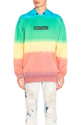 Palm Angels Rainbow Tie And Dye Hoody In Ombre And Tie Dye Green Ombre And Tie Dye Green