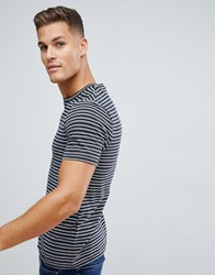 Celio Crew Neck T Shirt In Stripe With Tipped Collar Black