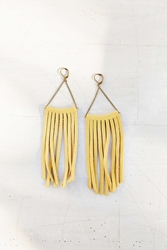 Urban Renewal Moon And Arrow Tan Leather Fringe Earring Assorted