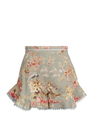 Zimmermann Mercer Flutter Frill Linen Blend Shorts Blue Multi