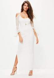 Missguided White Lace Cold Shoulder Frill Maxi Dress