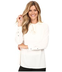 Vince Camuto Long Sleeve Tie Neck Pleated Tuxedo Blouse Antique White Women's Blouse