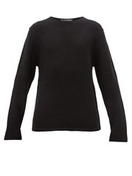 Denis Colomb Ribbed Sleeve Cashmere Sweater Black