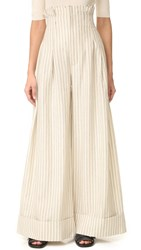 Jacquemus High Waisted Wide Leg Pants Off White Navy Stripe