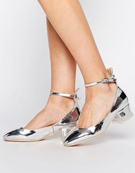Lost Ink Fancie Silver Ankle Strap Mid Heeled Shoes Silver
