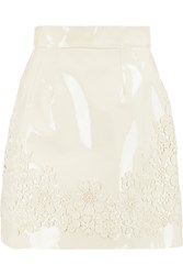 Dolce And Gabbana Appliqued Patent Leather Mini Skirt White
