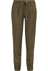 Michael Michael Kors Stretch Crepe Track Pants Green