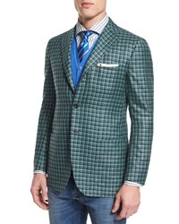 Kiton Silk Cashmere Check Two Button Jacket W Patch Pockets Green Navy Men's