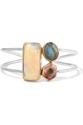 Melissa Joy Manning 14 Karat Gold And Sterling Silver Multi Stone Cuff One Size