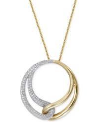 Effy Collection Duo By Effy Diamond Interlocked Circle Pendant Necklace 1 2 Ct. T.W. In 14K Gold And White Gold Yellow White Gold