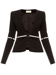 Thierry Mugler Pearl Embellished V Neck Jacket
