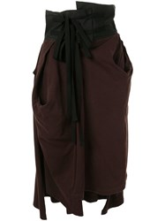 Aganovich High Waisted Jersey Skirt Brown