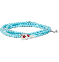 Isaia Saracino Turquoise And Silver Bead Wrap Bracelet