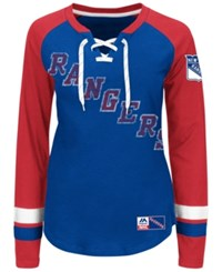 Majestic Women's New York Rangers Hip Check Long Sleeve T Shirt Royalblue Red
