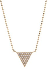 Nadri Ball Chain Crystal Pave Triangle Pendant Necklace Metallic