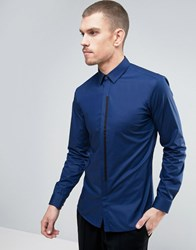 Hugo By Boss Emac Shirt Contrast Placket Slim Fit In Blue Blue