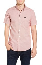 Rvca Men's 'That'll Do' Slim Fit Microdot Woven Shirt Pompei Red