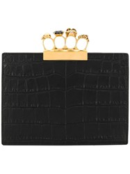 Alexander Mcqueen Croco Embossed Clutch Black