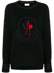 Moncler Embroided Logo Sweater Black