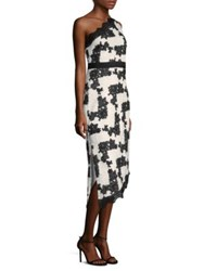 Laundry By Shelli Segal Embroidered One Shoulder Midi Dress Black White