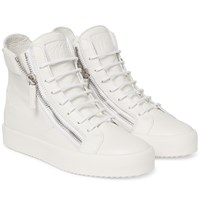 Giuseppe Zanotti Grained Leather High Top Sneakers Off White