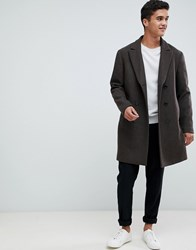 Selected Homme Oversized Double Breasted Recycled Wool Overcoat Dark Brown Melange