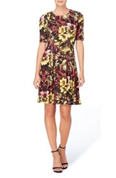 Catherine Malandrino Women's Jonni Pleat Jersey Fit And Flare Dress Winter Floral