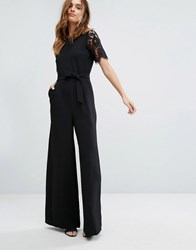 Warehouse Lace Sleeve Jumpsuit Black
