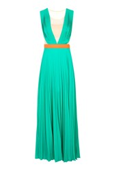 Neon Town Pleated Maxi Dress By Jovonna Turquoise