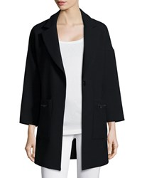 Milly Nikki Single Button Wool Blend Coat Black