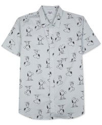 Jem Men's Snoopy Graphic Print Short Sleeve Shirt Grey