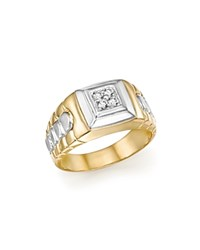 Bloomingdale's Diamond Men's Ring In 14K White And Yellow Gold .10 Ct. T.W. 100 Exclusive White Gold