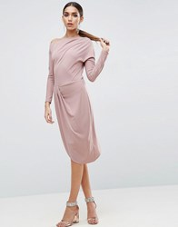 Asos One Shoulder Midi Bodycon Dress With Drape Front Nude Pink