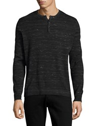 Calvin Klein Striped Modal Blend Henley Shirt Black Combo