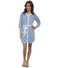 Hatley Shirt Dress Royal Batik Women's Dress Blue