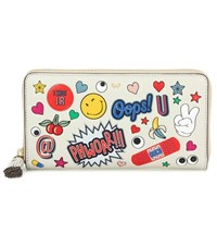 Anya Hindmarch Large Zip Around Printed Leather Wallet White