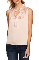 Cece Ruffle Tie Neck Sleeveless Blouse Rose Cloud
